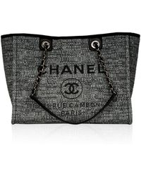 Chanel - Deauville Grey Tweed Handbag - Lyst