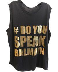 Balmain - Black Cotton Top - Lyst