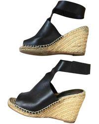 e59aeb00359 Céline Black Leather Espadrille Wedge Platform Sandals in Black - Lyst