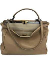 Fendi - Pre-owned Peekaboo Beige Leather Handbags - Lyst 87c1f500df0fc