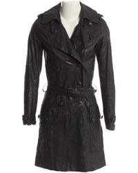 Balmain - Leather Trench Coat - Lyst
