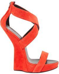 3bf868d07b85 Giuseppe Zanotti Suede T Strap Platform Heel Less Wedge Sandals in ...