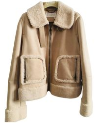 Chloé - Beige Shearling Leather Jacket - Lyst