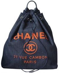 Chanel - Deauville Navy Cloth Backpacks - Lyst