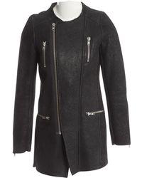 IRO - Black Shearling Coat - Lyst