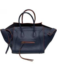 Céline - Luggage Phantom Navy Leather Handbag - Lyst