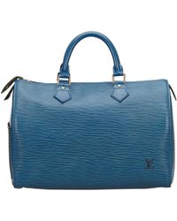 Louis Vuitton - Vintage Speedy Blue Leather Handbag - Lyst
