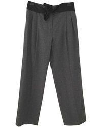 Lanvin - Grey Wool Trousers - Lyst