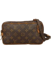 6fc7ab9eab9c Louis Vuitton Pre-owned Marly Cloth Crossbody Bag in Brown - Lyst