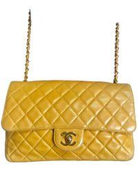 Chanel - Vintage Timeless Yellow Leather Handbag - Lyst