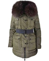 lyst moncler mirielon fur trimmed down coat in black rh lyst com