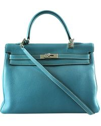 1795fa63fa51 Hermès - Pre-owned Kelly 35 Blue Leather Handbags - Lyst