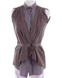 Brunello Cucinelli - Grey Cotton Top - Lyst