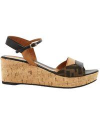 a0c8b10a521 Lyst - Fendi Cecilia Denim Cork Wedge Sandals in Blue