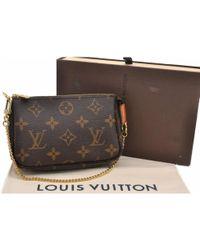 Louis Vuitton - Pochette Accessoire Brown Cloth Clutch Bag - Lyst