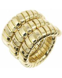 BVLGARI - Tubogas Yellow Gold Ring - Lyst