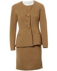 Dior - Pre-owned Vintage Beige Wool Jacket - Lyst