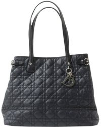 Dior - Pre-owned Lady Navy Leather Handbags - Lyst