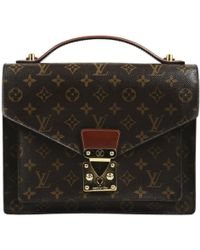 Louis Vuitton - Pre-owned Vintage Monceau Brown Cloth Handbag - Lyst
