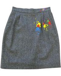 Olympia Le-Tan - Grey Wool Skirt - Lyst