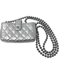 Chanel - Silver Leather Handbag - Lyst