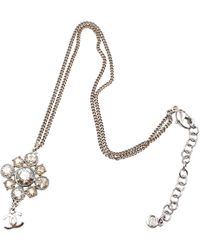 Chanel - Silver Metal Necklace - Lyst