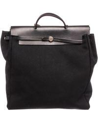 Hermès - Pre-owned Herbag Black Cloth Handbags - Lyst