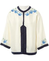 0f46ca6ddaf61 Vilshenko Matin Embroidered Silk Crepe De Chine Blouse in White - Lyst