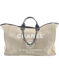 Chanel Bolsos de viaje en lona beige Deauville - Neutro