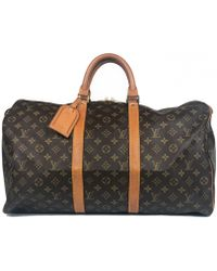 Louis Vuitton - Pre-owned Vintage Keepall Brown Cloth Bag - Lyst