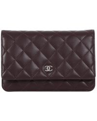 Chanel - Wallet On Chain Purple Leather Clutch Bag - Lyst