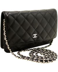 c913c9f2a90171 Chanel - Pre-owned Wallet On Chain Black Leather Handbags - Lyst