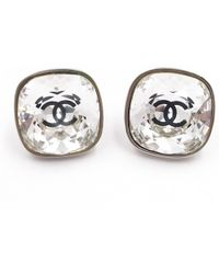 Chanel - Silver Metal Earrings - Lyst