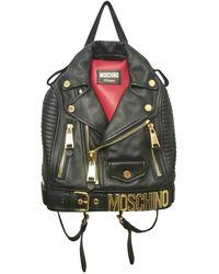 Moschino - Biker Black Leather - Lyst