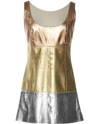 Chanel - Pre-owned Vintage Metallic Leather Top - Lyst