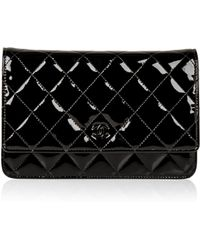f51e7302bb81bd Chanel - Pre-owned Wallet On Chain Black Patent Leather Handbags - Lyst