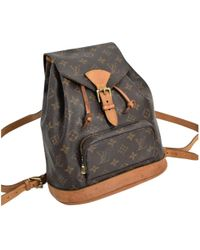Louis Vuitton - Vintage Montsouris Brown Cloth Backpacks - Lyst