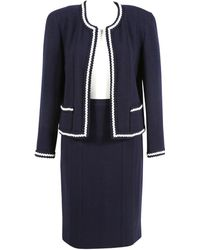 Chanel - Pre-owned Vintage Blue Wool Jackets - Lyst