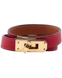 Hermès - Pre-owned Kelly Double Tour Red Leather Bracelets - Lyst