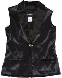 Chanel - Black Viscose Jacket - Lyst