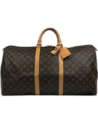Lyst - Louis Vuitton Pre-owned Keepall Cloth Travel Bag in Brown for Men 95dafe4a5ea56