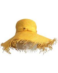 d57ee7986b5 Loewe - Pre-owned Yellow Wicker Hats - Lyst