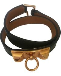 Hermès - Kelly Double Tour Green Leather Bracelets - Lyst