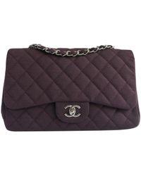 4841fb2b8d0d Chanel - Timeless/classique Purple Cotton Handbag - Lyst