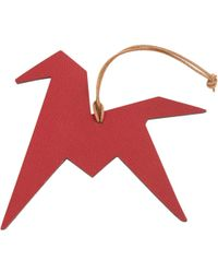 Hermès - Petit H Red Leather Bag Charms - Lyst