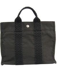 Hermès - Herline Grey Cloth Handbag - Lyst