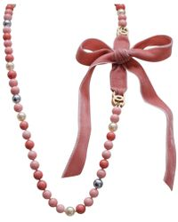 Chanel - Vintage Pink Pearls Necklace - Lyst