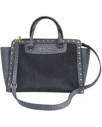 Michael Kors - 100% Authentic Blue Satchel Selma Pick Stitch Studded Large Top Zip Bag Tote - Lyst