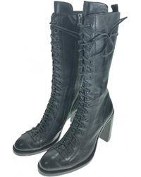 Ann Demeulemeester - Black Leather Boot - Lyst