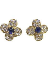 Van Cleef & Arpels - Vintage Multicolour Yellow Gold Earrings - Lyst